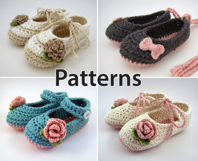 crochet baby booties flowers and bows